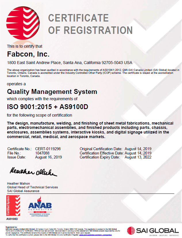 Fabcon ISO 9001:2015 + AS09100D Certificate